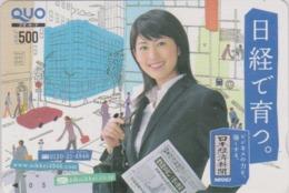 Carte Prépayée Japon - FEMME / PRESSE JOURNAL NIKKEI - GIRL / PRESS Japan Prepaid QUO Card - Frau - 6270 - Personaggi