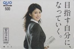 Carte Prépayée Japon - FEMME / PRESSE JOURNAL NIKKEI - GIRL / PRESS Japan Prepaid QUO Card - Frau - 6272 - Personaggi
