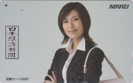 Carte Prépayée Japon - FEMME / PRESSE JOURNAL NIKKEI - GIRL / PRESS Japan Prepaid TOSHO Card - Frau - 6273 - Personaggi