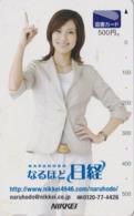 Carte Prépayée Japon - FEMME / PRESSE JOURNAL NIKKEI - GIRL / PRESS Japan Prepaid TOSHO Card - Frau - 6277 - Personaggi