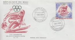 Enveloppe  FDC  1er  Jour    MALI    50éme  Anniversaire   Des  JEUX  OLYMPIQUES  D' HIVER   1974 - Olympic Games