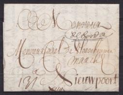 """L. Datée 16 Mars 1697 De BORDEAUX Pour NIEUWPOORT - Man """"DeBordeau"""" - 1621-1713 (Spanish Netherlands)"""
