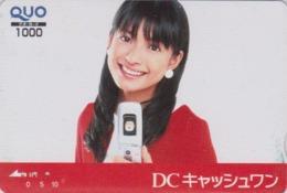 Carte Prépayée Japon - FEMME Pub BANQUE BANK DC CASH ONE - GIRL Japan Prepaid QUO Card - FRAU - 6289 - Personaggi