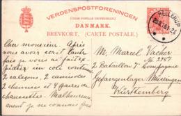 ! 2 Ganzsachen 1916 Aus Dänemark, Hellerup, Kjobenhavn An Kriegsgefangenenlager Müssingen Württemberg - Interi Postali