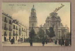 CPA ESPAGNE - MURCIA - Plaza De Belluga - TB PLA?N Place CENTRE VILLE ANIMATION + Jolie Oblitération - Murcia