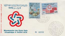 Enveloppe  FDC   1er   Jour    MAROC    Bicentenaire  De   L'  Indépendance  Des  U.S.A    1976 - Unabhängigkeit USA