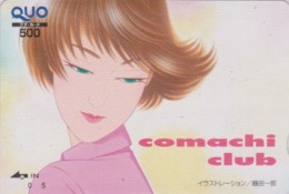 Carte Prépayée Japon - Peinture FEMME ** Série COMACHI CLUB ** - GIRL WOMAN Japan Prepaid QUO Painting Card - 6294 - Pittura