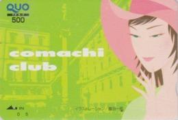 Carte Prépayée Japon - Peinture FEMME ** Série COMACHI CLUB ** - GIRL WOMAN Japan Prepaid QUO Painting Card - 6295 - Pittura