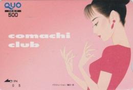 Carte Prépayée Japon - Peinture FEMME ** Série COMACHI CLUB ** - GIRL WOMAN Japan Prepaid QUO Painting Card - 6297 - Pittura