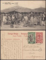"CONGO EP VUE 10C ROUGE  ""N°35 BOMA LE MARCHE"" OBL BOMA 15/11/1921 VERS IXELLES  (BE) DC-4652 - Interi Postali"