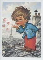"""Michel Thomas """"Les Momes"""" Toit De Paris Tour Eiffel Coeur Gamin (cp Vierge N°0137) - Thomas"""