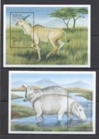 V723 CONGO FAUNA AFRICAN WILD ANIMALS ORYX HIPPOPOTAMUS 2BL MNH - Briefmarken