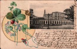 ! Alte Ansichtskarte, 1903 Gruss Aus Bielitz, Theaterplatz, Schloss, Schlesien - Schlesien