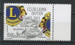 SPM Miquelon 2013  N° 1088 ** Neuf MNH Superbe Club Lions Doyen Logo Faune Animaux - St.Pierre Et Miquelon