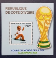 IVORY COAST COTE D'IVOIRE SHEET BLOC - LIONS SOCCER WORLD CUP COUPE MONDE FOOTBALL GERMANY ALLEMAGNE -  RARE MNH - Costa D'Avorio (1960-...)