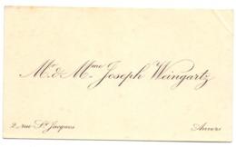 Visitekaartje - Carte Visite - Mr & Mme Joseph Weingartz - Anvers Antwerpen - Cartes De Visite