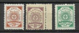 LATVIA Lettland 1920/21 Michel 47 - 48 & 50 MNH - Latvia
