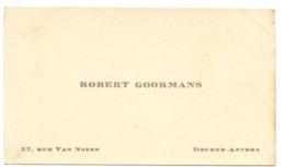 Visitekaartje - Carte Visite - Robert Goormans - Deurne Antwerpen - Cartes De Visite