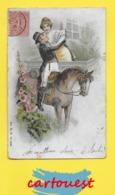 CPA  ♦♦☺  Fantaisie Gaufrée Légèrement - Couple - Femme Homme Cheval Fleur  ֎ - Couples