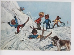 Michel Thomas - Poulbot (sports D'hiver, Gamins Ski Chute Chien Saint Bernard Luge) Cp N°12 - Thomas