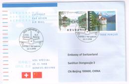 Schweiz 1998, Michel# GS Mit Eindruck 1667 + 1668 O Nach Peking Bzw. Shanghai - Suiza