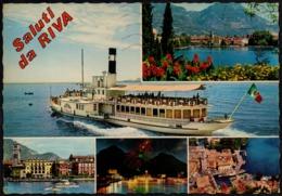 ITALIA - RIVA DEL GARDA - LAGO DI GARDA - BATTELLO - CARTOLINA VIAGGIATA - FRANCOBOLLO: FIORI - ROSA 1981 - Other Cities