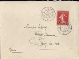 14-CALVADOS- LISON A LAMBALLE   TàD DE TYPE AMB.2 / 1908 - Marcophilie (Lettres)