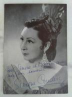 AUTOGRAPHE ORIGINAL SIMONE COUDERC SUR PHOTOGRAPHIE CARMEN CHANTEUR LYRIQUE MEZZO SOPRANO ARTISTE - Autogramme & Autographen