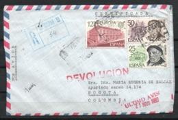 España. 180. Certificado Dirigido A Colombia. Marcas De Avisos Y Devolución - 1931-Hoy: 2ª República - ... Juan Carlos I