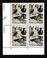 1987 Italia Repubblica ALCOLISMO 4 Serie In Quartina MNH** Bl.4 ALCOHOLISM - 1981-90: Mint/hinged