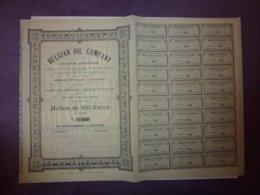 ACTION DE 500 FRANCS AU PORTEUR, BELGIAN OIL COMPANY 1909 - Aandelen