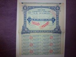 """ACTION DE 100 FRANCS AU PORTEUR,SOCIETE ANONYME DE MACHINES-OUTILS ET APPAREILS DIVERS """" LA SAMOA""""  1931 - Aandelen"""