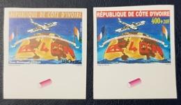 COTE D'IVOIRE IVORY COAST 2002 YT 1093/4 MICHEL Mi 1291/2 - IMPERF NON DENTELE ND - COLLEGE J. MERMOZ AVIONS - RARE MNH - Costa D'Avorio (1960-...)