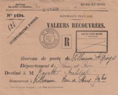 St. Vrain (Seine-et-Oise) : Superbe T. à D. / Env. Recommandée D'office.+ Griffe St. Vrain. - Cachets Manuels