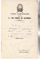 27 - GISORS (Eure) - FRANC MACONNERIE Loge Des Frères De BLANMONT Gisors. Doc De Convoc Pour Réun Conseil D'adm Av 1860 - Unclassified