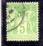 FRANCE FRANCIA 1876 1878 PAIX ET PEACE AND COMMERCE CENT. 5c OBLITERE' USED USATO - 1876-1898 Sage (Tipo II)