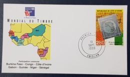 COTE D'IVOIRE IVORY COAST 1999 - FDC JOINT ISSUE - PHILEXAFRIQUE FIRST FRENCH STAMP TIMBRE FRANCAIS HOLOGRAM - Costa D'Avorio (1960-...)