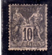 FRANCE FRANCIA 1876 1878 PAIX ET PEACE AND COMMERCE CENT. 10c OBLITERE' USED USATO - 1876-1898 Sage (Tipo II)