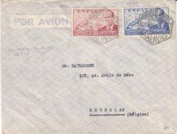 Espagne - Lettre De 1948 - Oblit Madrid - Exp Vers Bruxelles - Avions - 1931-50 Lettres