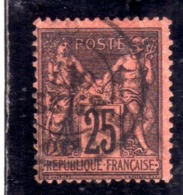FRANCE FRANCIA 1877 1880 PAIX ET PEACE AND COMMERCE CENT. 25 BLACK REDc OBLITERE' USED USATO - 1876-1898 Sage (Tipo II)