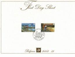 Belg. FDS 2008-15  OBP/COB 3790/91 - Zomerzegels, Fietsen En Wandelen / Timbres D'été, Randonnées à Vélo Et à Pied. - FDC