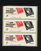 """3 VIGNETTES LISA VIERGES """" 73EME SALON AUTOMNE PARIS 2019  - MARIANNE L'ENGAGEE """" SIGNEES SARAH LAZAREVIC   - ETAT** - 2010-... Illustrated Franking Labels"""