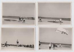 Biscarrosse. Parachutisme.Saut De Precision Sur Cible.4 Photos Originales. Années 50-60. - Paracaidismo