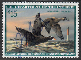 UNITED STATES    SCOTT NO.  RW63    USED   YEAR  1996 - Duck Stamps