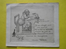 A.Willette ,(collection Des Cent) ,faire -part Naissance De Sa Fille Maria - Geburt & Taufe