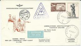 Yugoslavia,Croatia,Czechoslovakia,Avio,Plane,Zagreb - Praha,first Flight - 6.V.1965 - 1945-1992 République Fédérative Populaire De Yougoslavie