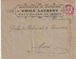 COB N° 58 Sur Lettre à Entête PATURAGES-LEZ-MONS / EMILE LAURENT / MANUFACTURE DE CHAUSSURES - 1893-1900 Barba Corta