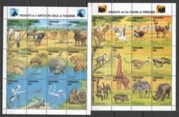 D396 TANZANIA FAUNA ANIMALS WILDLIFE ON THE PLAINS & WATERING HOLE !!! 2SH MNH - Briefmarken