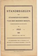 Standregelen Der Stoomzuivelfabriek ' Van Den Rooden Molen ' Te Zele 1932 - Zonder Classificatie