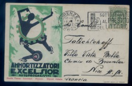 Cpa 1927 Pub Ammortizzatori Excelsior Autoprogressivi  Illustrateur Lucio Venna Cartolina Originale Auto LZ90 - Advertising